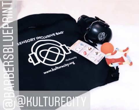 Barber's Blueprint Sensory Inclusive Bag in partnership with kulturecity.org has noise cancelling headhphones, toys and communication cards to help provide a sensory inclusive haircut experience for people with autism.